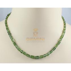 Grüne Turmalinkette - Turmalin Kristalle mit Perle 44 cm lang