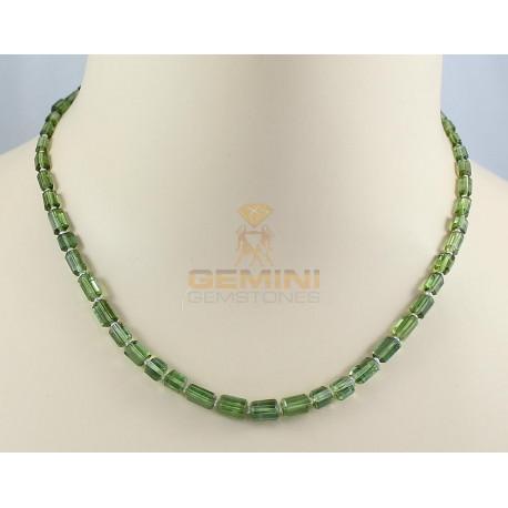 Grüne Turmalinkette - Turmalin Kristalle mit Perle 44 cm lang-Edelsteinketten