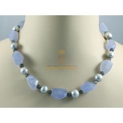 Chalcedon-Kette, Chalcedon mit Perlen und Mondstein