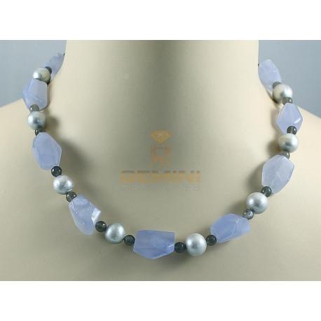 Chalcedon-Kette, Chalcedon mit Perlen und Mondstein-Edelsteinketten