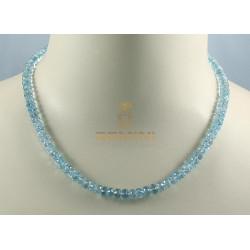 Aquamanrin Kette facettierte Aquamarine hellblau Halskette für Damen 132 Karat