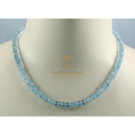 Aquamanrin Kette facettierte Aquamarine hellblau Halskette für Damen 132 Karat-Edelsteinketten