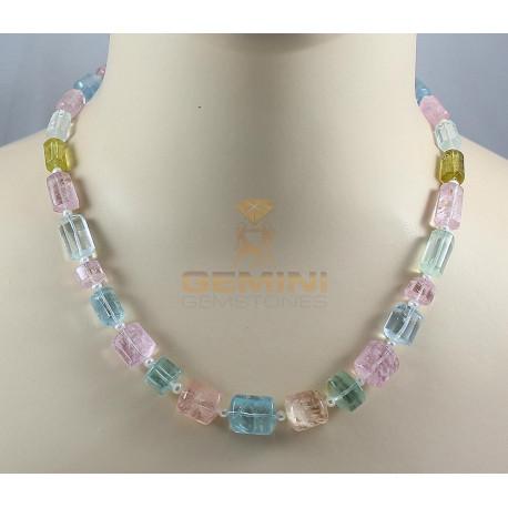 Beryll Kette mehrfarbige Beryll Kristall-Halskette 260 kts-Edelsteinketten