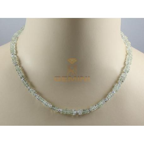 Prasiolith Kette, grüner Amethyst mit Perle, 85 kts-Edelsteinketten