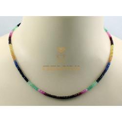 Edelsteinkette: Rubin Saphir Smaragd 46 cm
