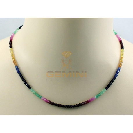 Edelsteinkette: Rubin Saphir Smaragd 46 cm-Edelsteinketten