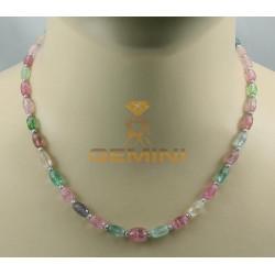 Turmalin Kette rosa hellgrün mit Perlen 46 cm lang
