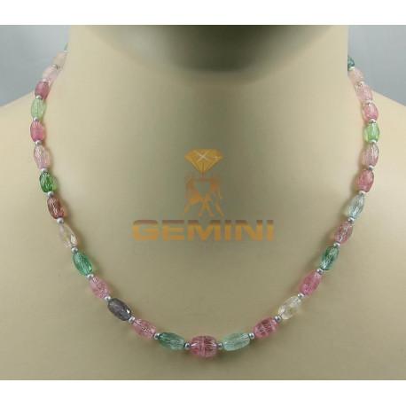 Turmalin Kette rosa hellgrün mit Perlen 46 cm lang-Edelsteinketten