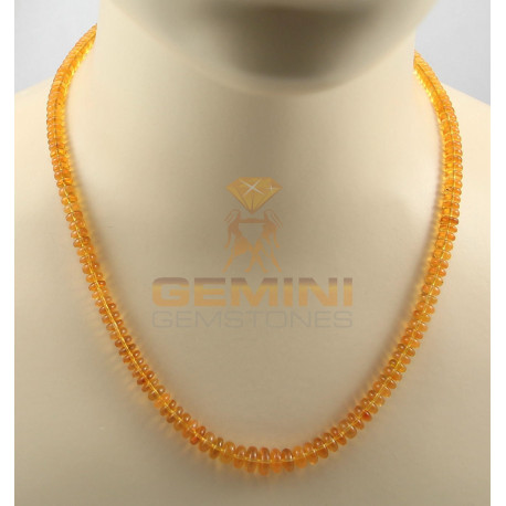 Feueropal Kette orange in Rondell-Form geschliffen 51 cm-Edelsteinketten
