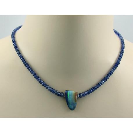 Kyanit Kette mit Boulder-Opal Halskette für Damen-Edelsteinketten