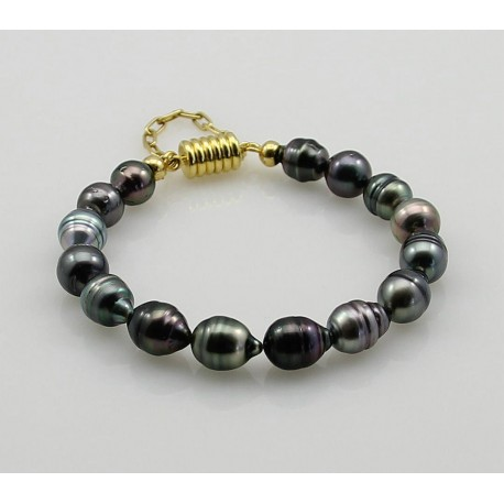 Perlenarmband Tahiti-Perlen Barock mit Magnet-Schließe in Perlen-Ar...