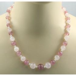 Rosenquarz Kette rosa quarz Kugeln mit Zuchtperle Halskette für Damen