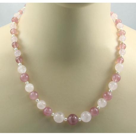 Rosenquarz Kette rosa quarz Kugeln mit Zuchtperle Halskette für Damen-Edelsteinketten