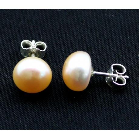 Zuchtperlen Ohrstecker, Perle apricot-Perlenschmuck