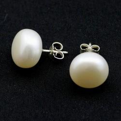 Süßwasserperlen-Ohrstecker China-Zuchtperlen in Weiß 13 mm -Perlen-Ohrringe