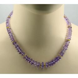 Amethyst Kette Amethyst facettiert lila Halskette für Damen 46 cm