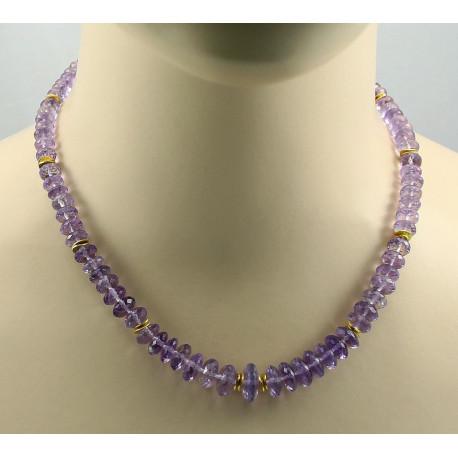 Amethyst Kette Amethyst facettiert lila Halskette für Damen 46 cm-Edelsteinketten