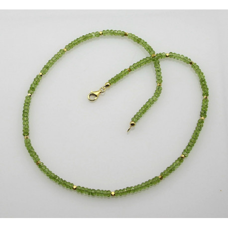 Peridot Kette facettierter Peridot maigrüne Halskette für Damen 50 cm-Edelsteinketten