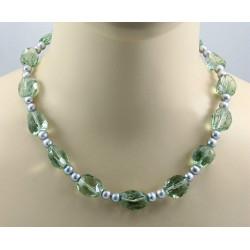 Prasiolith Kette - Grüner Amethyst mit Perlen