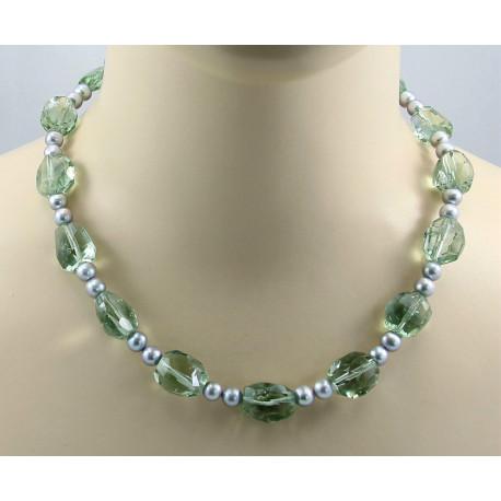 Prasiolith Kette - Grüner Amethyst mit Perlen-Edelsteinketten