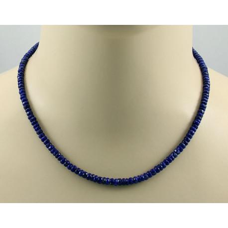 Lapislazuli Kette Lapis Halskette blau facettiert für Damen 45 cm-Edelsteinschmuck
