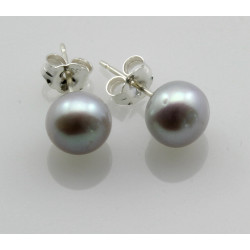 Perlen-Ohrstecker silber-graue Süßwasser Zuchtperlen Bouton 7 mm-Perlen-Ohrringe