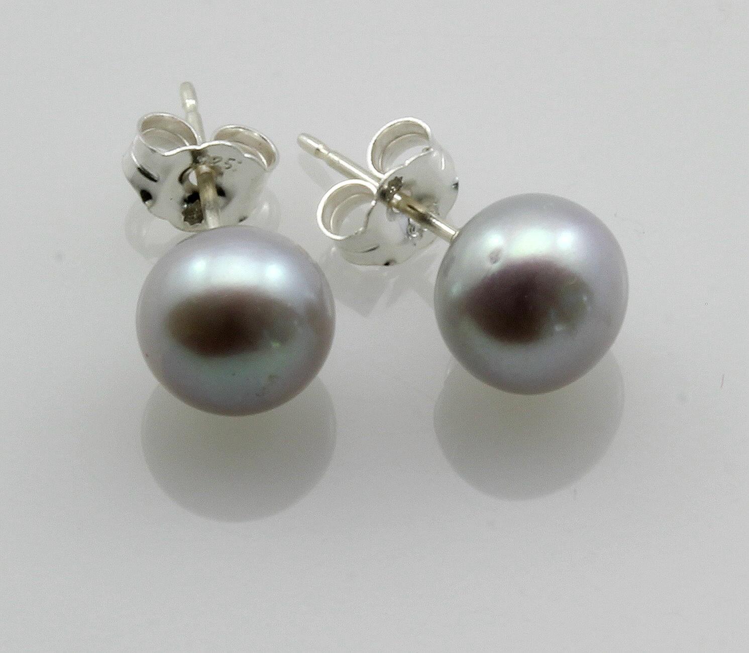 Perlen ohrstecker  Perlen-Ohrstecker silber-graue Süßwasser Zuchtperlen Bouton 7 mm in...