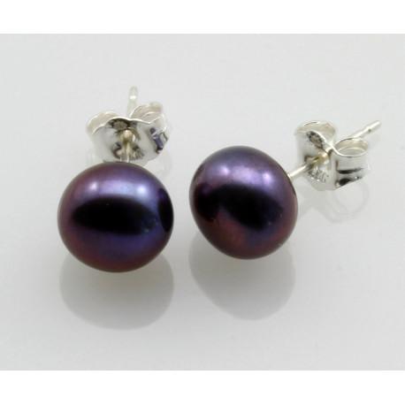 Perlen-Ohrstecker anthrazit-graue Süßwasser Zuchtperlen Bouton 7,5 mm-Perlen-Ohrringe