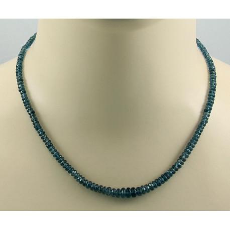 Kyanit Kette blau-grüne Cyanit Rondelle facettiert Halskette Damen 46 cm-Edelsteinketten