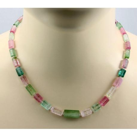 Turmalin Kristall-Kette in rosa und grün 47 cm-Edelsteinschmuck