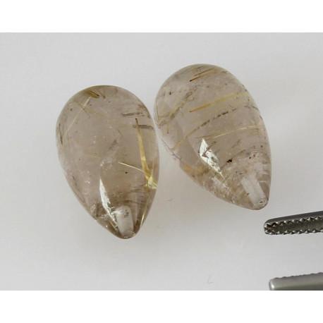 Rutilquarz aus Brasilien 30,44 Karat angebohrte Pampel als Paar-Edelsteine