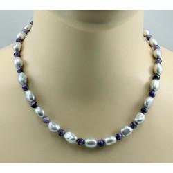 Perlenkette graue Süßwasser-Zuchtperlen mit lila Charoit Halskette