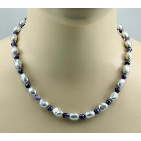 Perlenkette graue Süßwasser-Zuchtperlen mit lila Charoit Halskette-Perlenketten