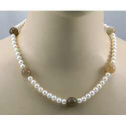 Perlenkette weiße Süßwasser Zuchtperlen mit indischen Mondstein Kugeln 48 cm