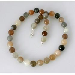 Mondstein Kette multicolour mit Perle 46,5 cm lang