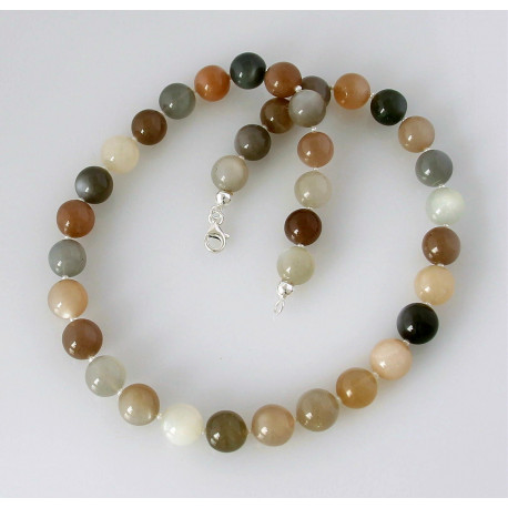 Mondstein Kette multicolour mit Perle 46,5 cm lang-Edelsteinketten