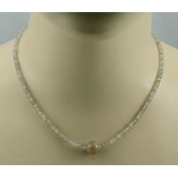 Zirkon Kette beige Natur-Zirkone facettiert mit Mondstein Halskette 45 cm