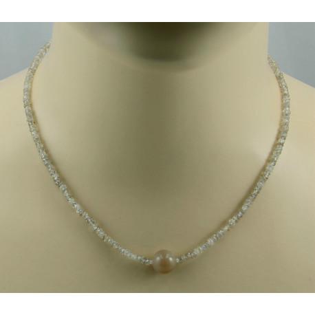 Zirkon Kette beige Natur-Zirkone facettiert mit Mondstein Halskette 45 cm-Edelsteinketten