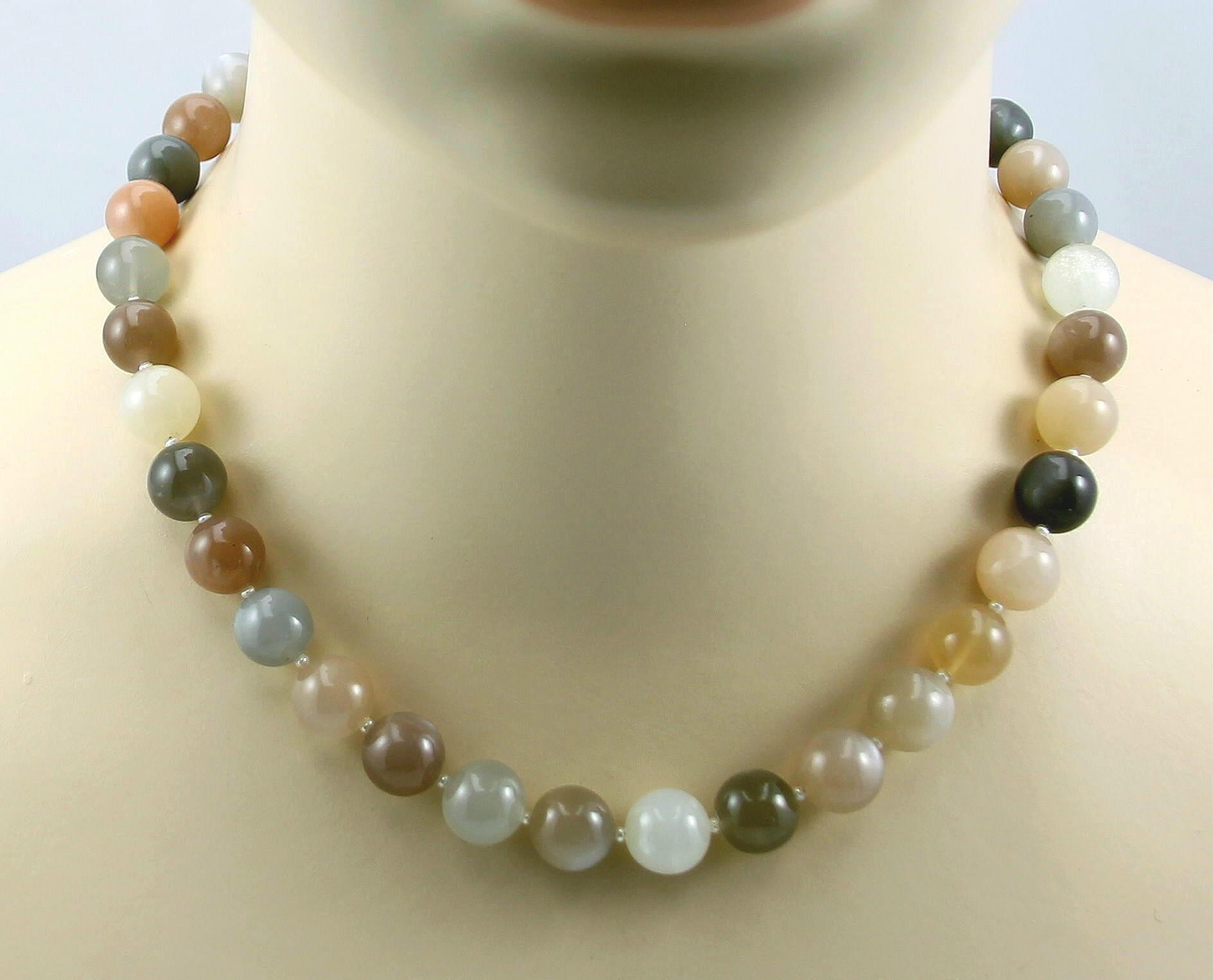 mondstein kette multicolour mit perle 46 5 cm lang in edelsteinketten. Black Bedroom Furniture Sets. Home Design Ideas