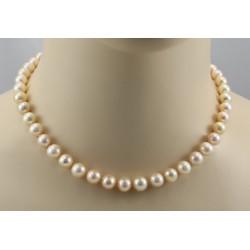 Perlenkette runde Süßwasserperlen in Apricot auf Perlseide geknotet