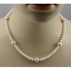 Perlenkette runde Süßwasser Zuchtperlen Perlencollier für Damen 46,5 cm