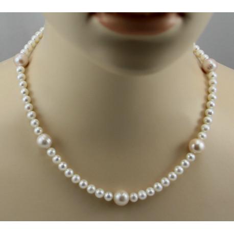 Perlenkette runde Süßwasser Zuchtperlen Perlencollier für Damen 46,5 cm-Perlenketten