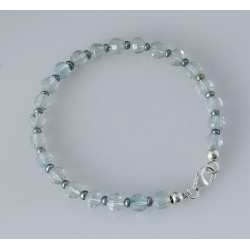 Topas Armband Blau-Topas natur facettiert mit Perle 19 cm