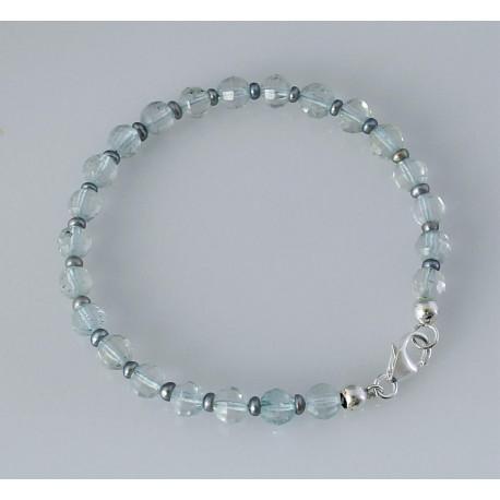 Topas Armband Blau-Topas natur facettiert mit Perle 19 cm-Edelstein-Armbänder