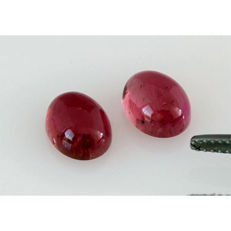 Rubellit, Rote Turmalin Cabochons, Paar, 2,87 kts-Edelsteine