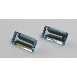 Aquamarin Paar Rechteckform facettiert 5,11 Karat