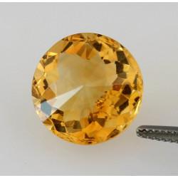 Citrin gelb 15mm rund facettiert 11,03 Karat-Edelsteine