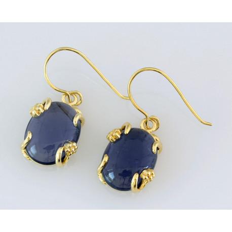 Iolith Ohrringe vergoldete Silber Ohrhänger mit blauen Iolith -Edelstein-Ohrringe