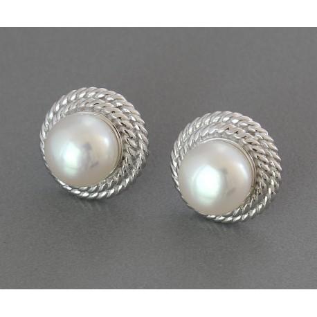 Perlen Ohrstecker Silber-Ohrstecker mit weißen Süwasser-Zuchtperlen-Perlen-Ohrringe