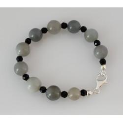 Mondstein Armband grauer Mondstein mit schwarzem Spinell-Edelstein-Armbänder